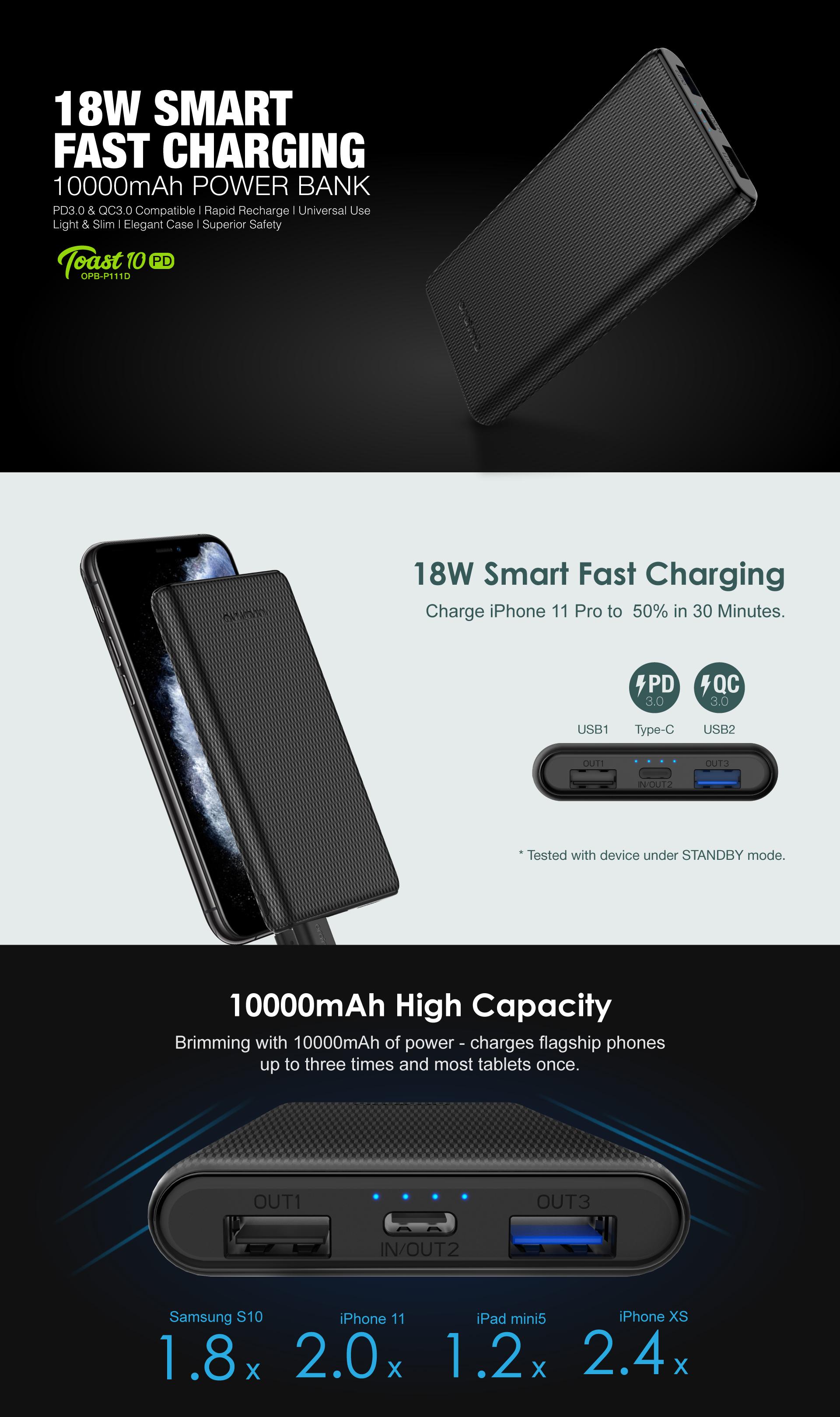 Oraimo PowerBank Toast 10 PD 10000mAh Fast Charge prix maroc